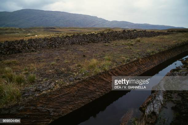 A peat bog in the vicinity of Cornamona Connemara County Galway Ireland