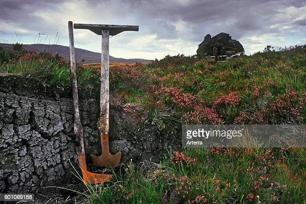 Peat extraction tools like turf spade and tarasgeir / tarisker in peatland / mire the Scottish Highlands Scotland