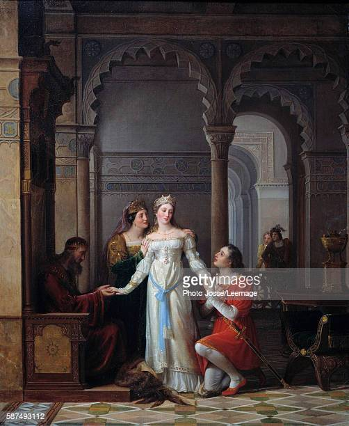 Peau d'Ane Illustration of the tale Peau d'Ane written by Charles Perrault representing the young princess in the palace of her father in love with...