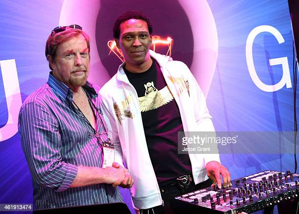 Peavey Electronics Corporation CEO Hartley Peavey and musician Keith Shocklee attend the 2015 National Association of Music Merchants show media...