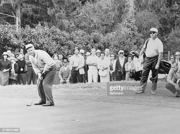 Pebble Beach California Body english fails to help Jack W Nicklaus Columbus Ohio can a 5th gree putt in morning round of National Amateur Golf...