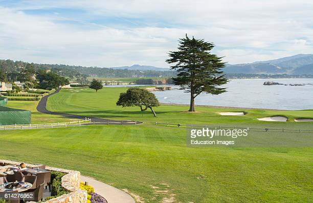 Pebble Beach California famous hole number 18 at Pebble Beach Golf Links exclusive golf course on ocean
