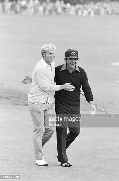 Pebble Beach, California: Jack Nicklaus is congratulated by Lee Trevino after Nicklaus won the 72nd US Open Golf Tournament on the Pebble Beach...