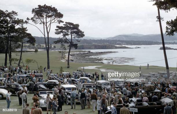 Pebble Beach Concours d'Elegance at Pebble Beach Lodge 1954 Under overcast skies is this famous concours in its earliest days Most of the cars are...