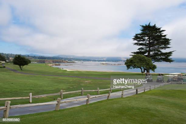 pebble beach golf course - pebble beach california stock pictures, royalty-free photos & images