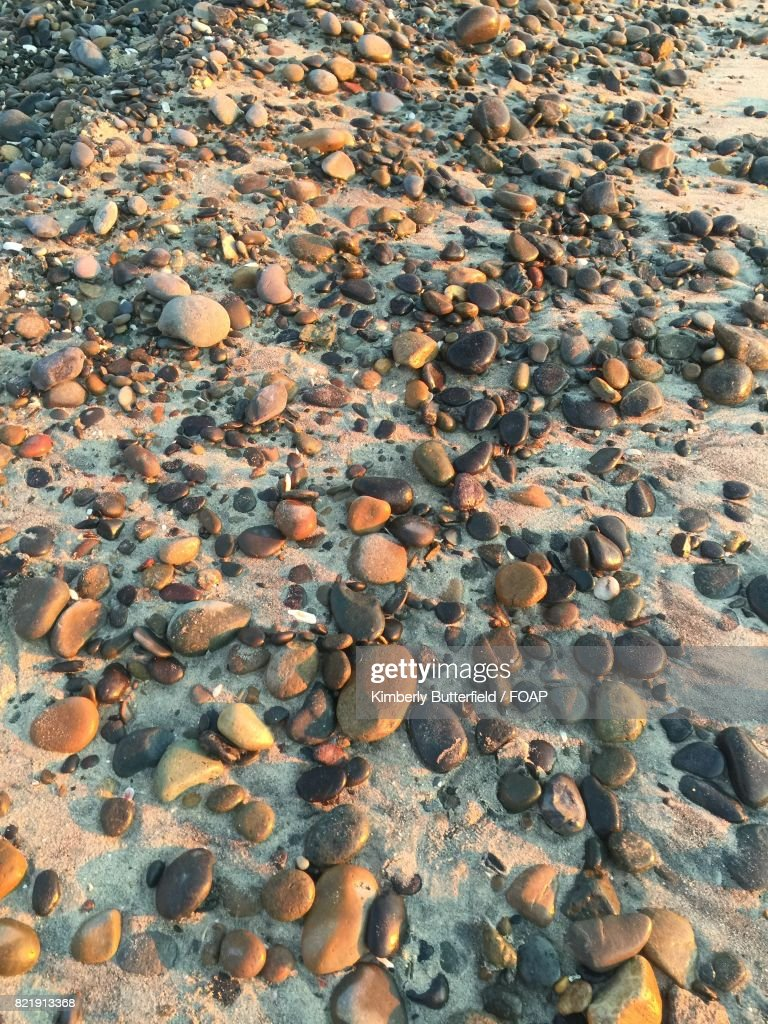 Pebbles and stones on the beach : Stock Photo