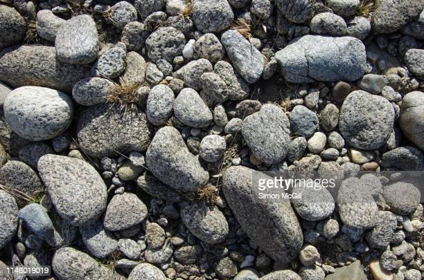 pebbles in a dry riverbed - flussbett stock-fotos und bilder