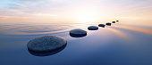 Pebbles in wide calm Ocean