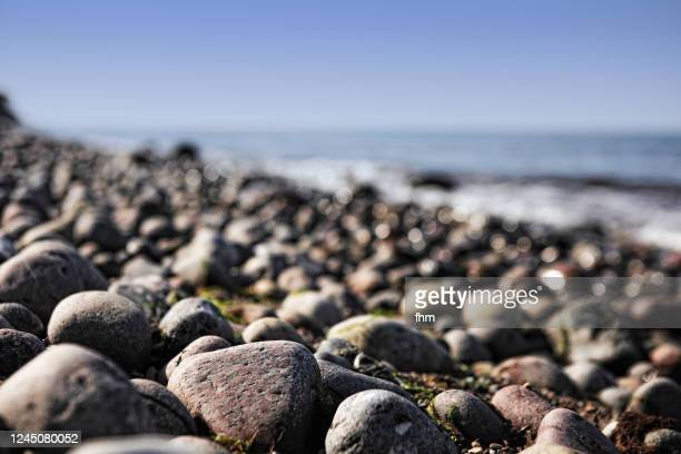 pebbles on the coastline - riva dell'acqua foto e immagini stock
