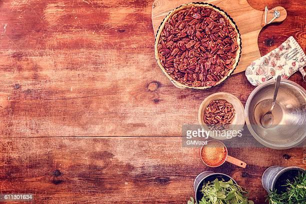 pecan pie background - pecan pie stock photos and pictures