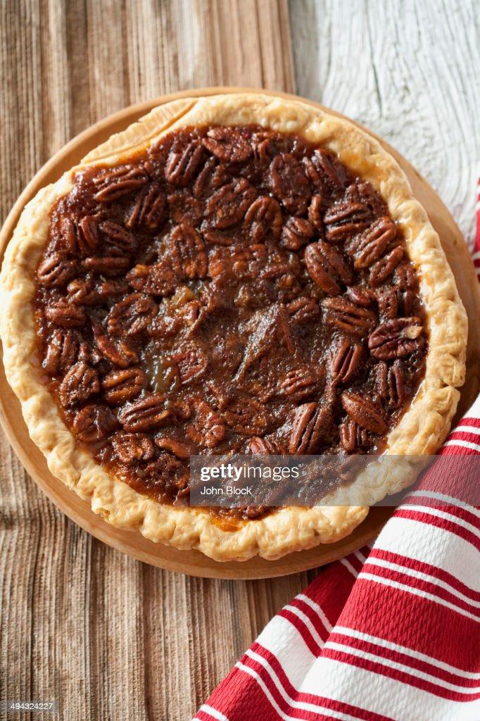 Pecan pie on tablecloth : Stock Photo