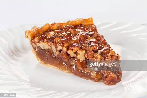 pecan pie slice - pecan pie stock photos and pictures