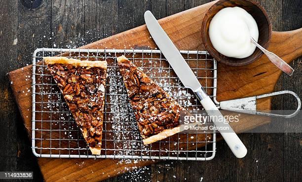 pecan tarts - pecan pie stock photos and pictures