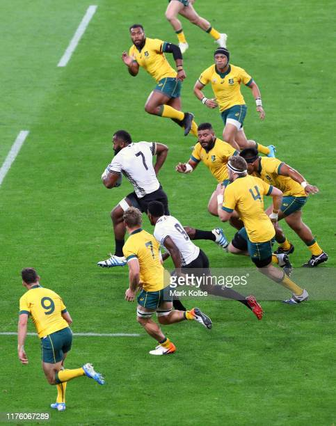 Peceli Yato of Fiji makes a break during the Rugby World Cup 2019 Group D game between Australia and Fiji at Sapporo Dome on September 21 2019 in...