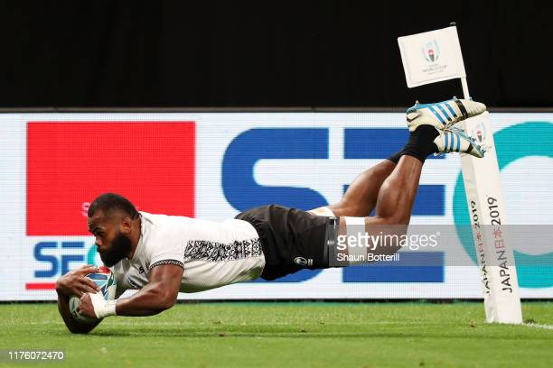 Peceli Yato of Fiji scores his side's first try during the Rugby World Cup 2019 Group D game between Australia and Fiji at Sapporo Dome on September...