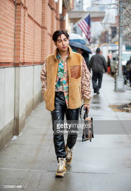 Peck Palit is seen outside Coach during New York Fashion Week Fall / Winter on February 11, 2020 in New York City.