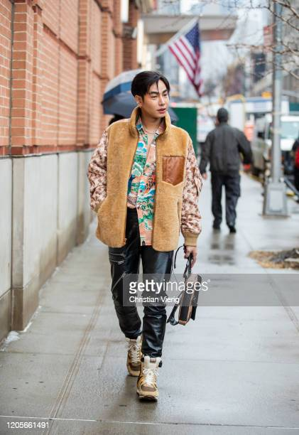 Peck Palit is seen outside Coach during New York Fashion Week Fall / Winter on February 11 2020 in New York City