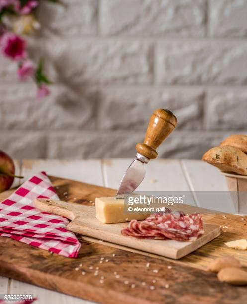 pecorino cheese and salami - salami stock pictures, royalty-free photos & images