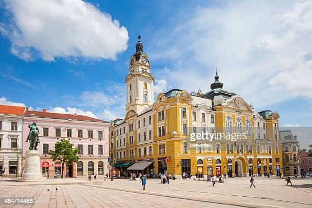 pecs hungary szechenyi square and town hall - hungary stock pictures, royalty-free photos & images
