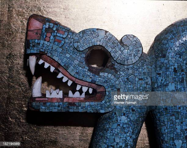 Pectoral ornament in the form of a double headed serpent One of the symbols of Tlaloc it was worn by a high priest Detail of a head Probably formed...