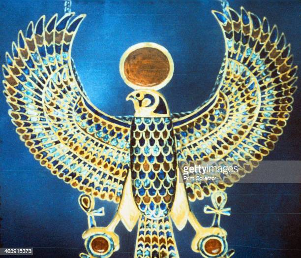 Pectoral showing the god Horus Ancient Egyptian 18th Dynasty c1325 BC A pectoral jewel of gold semiprecious stone and faience showing Horus the...