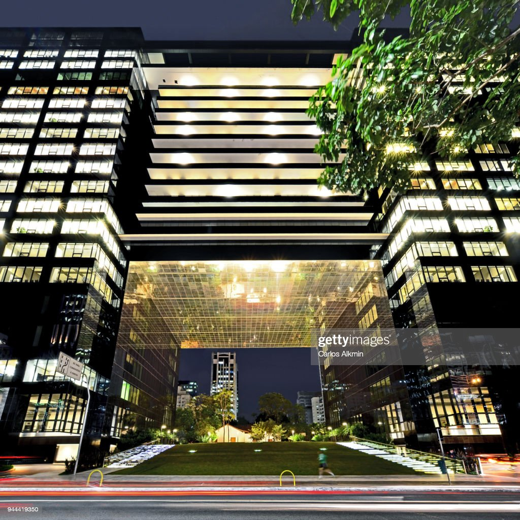 A peculiar office building at Faria Lima Avenue in Itaim Bibi, Sao Paulo's sophisticated business district : Stock Photo