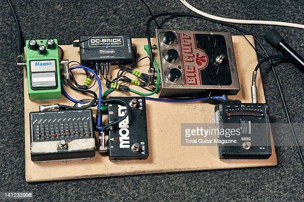 Pedal board belonging to Matt Bigland guitarist with English alternative rock group Dinosaur PileUp including a MXR 10 Band EQ and Morley ABY Switch...