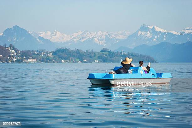 pedal boat on lake maggiore - pedal boat stock pictures, royalty-free photos & images