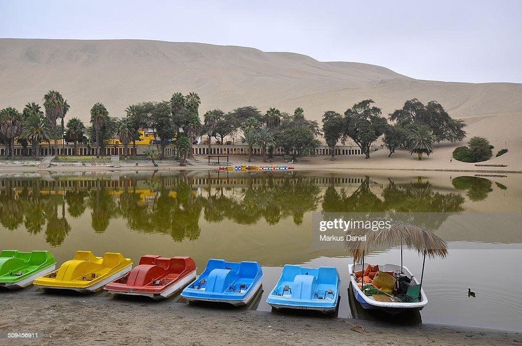 Pedal Boats at Huacachina Oasis Lake, Ica, Peru : Stock-Foto