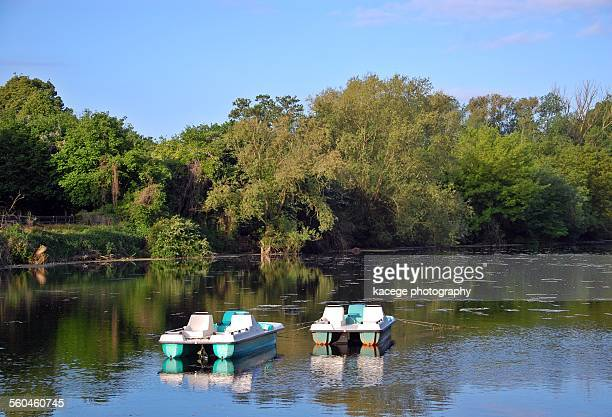 Pedal boats on a pond