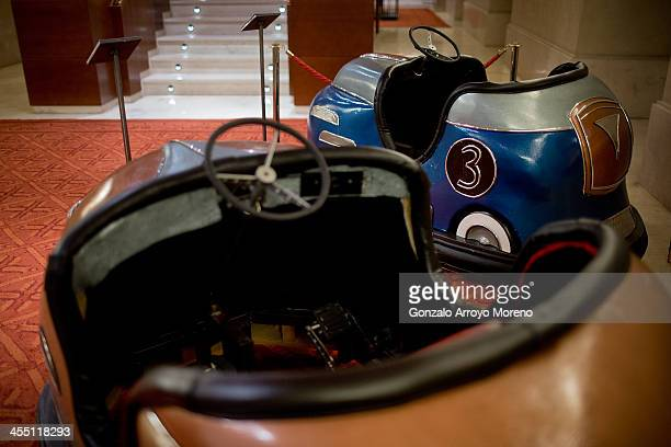 Pedal bumper cars made for Don Giovanni are exhibited at one of the Teatro Real vomitoriums during the performance of Elisir Di Amore of Gaetano...