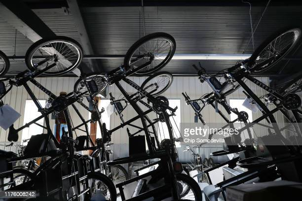 Pedalpowered products made by Coaster Cycles are stacked at the company's manufacturing facility inside a former lumber mill's 120yearold shipping...