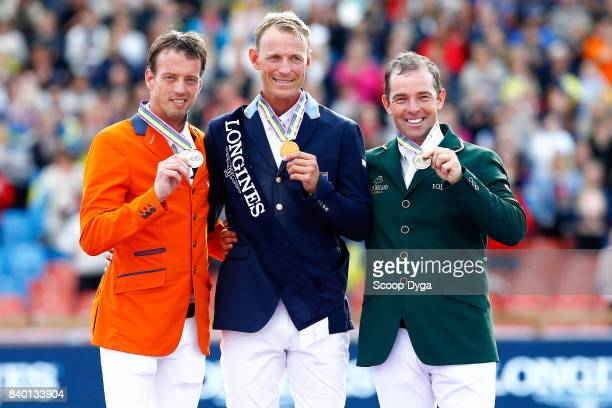 Peder Fredricson gold medal Harrie Smolders silver medal Cian O'Connor Bronze medal during Jumping Individual Final of the Equestrian European...