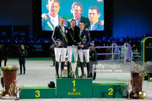 Peder Fredricson, Kevin STAUT of France, Scott Brash, during the prize giving cerimony 17th Rolex IJRC Top 10 Final. International Jumping...