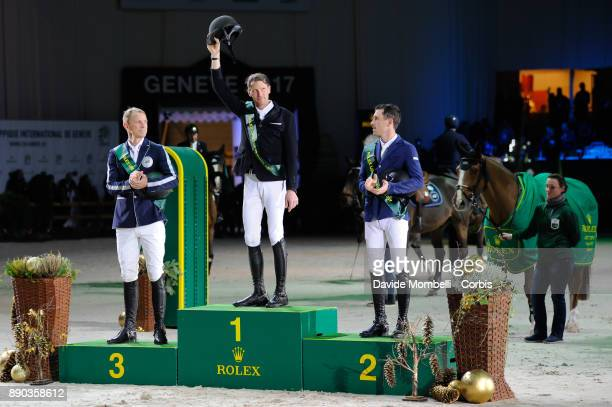 Peder Fredricson Kevin STAUT of France Scott Brash during the prize giving cerimony 17th Rolex IJRC Top 10 Final International Jumping Competition 1m...