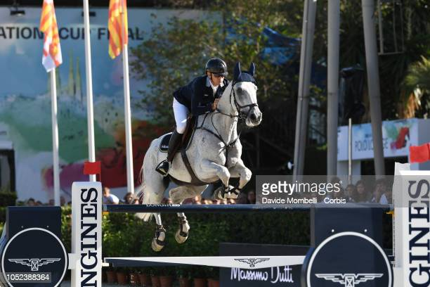 Peder Fredricson of Sweden riding Catch Me Not S during Longines FEI Jumping Nations Cup Final Competition on October 7 2018 in Barcelona Spain