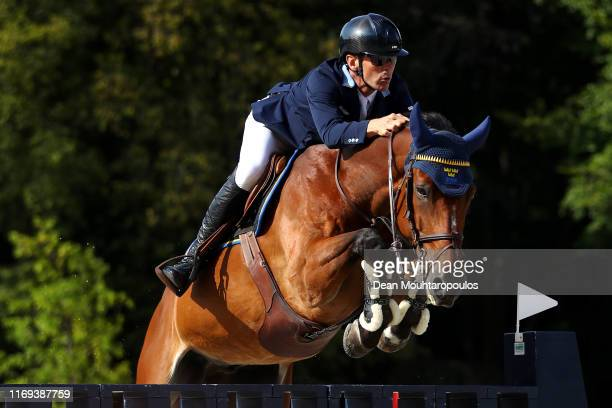 Peder Fredricson of Sweden riding H&M All In competes during Day 3 of the Longines FEI Jumping European Championship, speed competition against the...