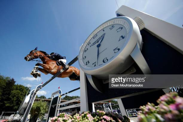 Peder Fredricson of Sweden riding H&M All In competes during Day 4 of the Longines FEI Jumping European Championship 2nd part, team Jumping 1st round...