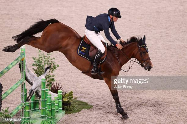 Peder Fredricson of Team Sweden riding All In competes in the Jumping Team Final at Equestrian Park on August 07, 2021 in Tokyo, Japan.