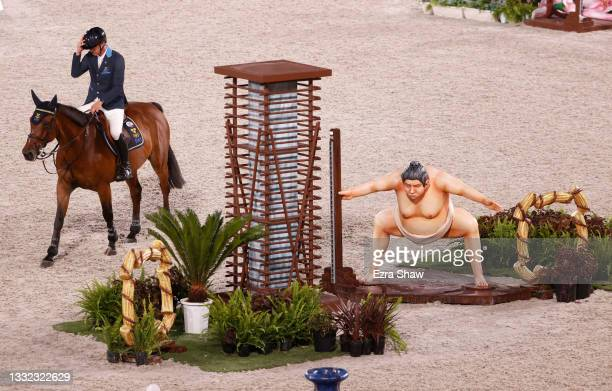 Peder Fredricson of Team Sweden riding All In competes in the Equestrian Jumping Individual Final on day twelve of the Tokyo 2020 Olympic Games at...