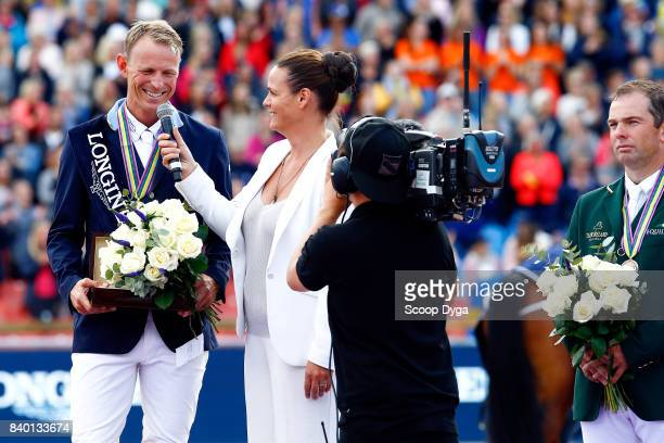 Peder Fredricson with his gold medal during Jumping Individual Final of the Equestrian European Championships on August 27 2017 in Gothenburg Sweden
