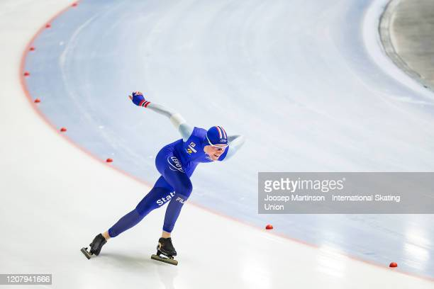 Peder Kongshaug of Norway competes in the Men's 1000m during the ISU World Junior Speed Skating Championships at Tomaszow Mazoviecki Ice Arena on...