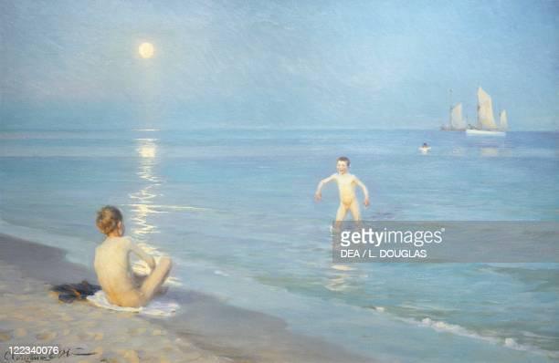 Peder Severin Kroyer Boys on the Seashore in a Summer Night at Skagen 1899