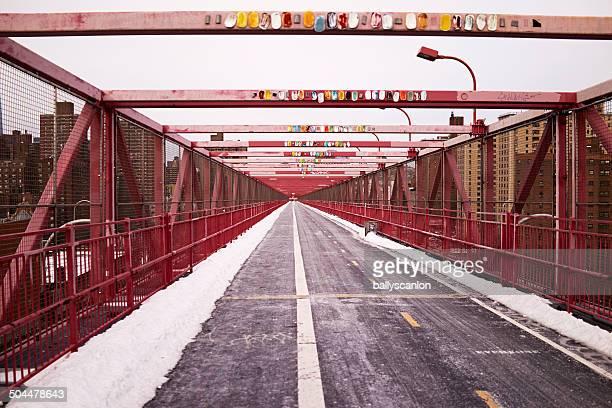 Pedestrian And Bike Lanes On Williamsburg Bridge.