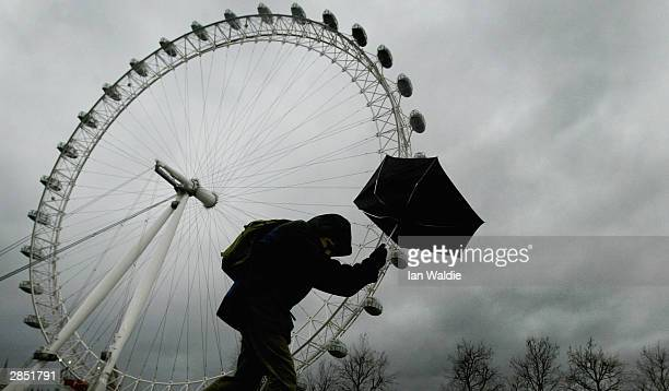 A pedestrian battles against strong gusty winds as he walks past the London Eye January 8 2004 in London High winds and torrential rain has battered...