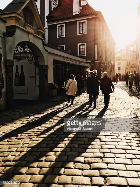 Pedestrian cobbled street in the old town of Cesky Krumlov, South Bohemia, Czech Republic