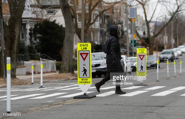 A pedestrian crosses Powder House Boulevard in Somerville MA on Feb 12 2019 The stretch of Powder House Boulevard where Allison Donovan was struck...