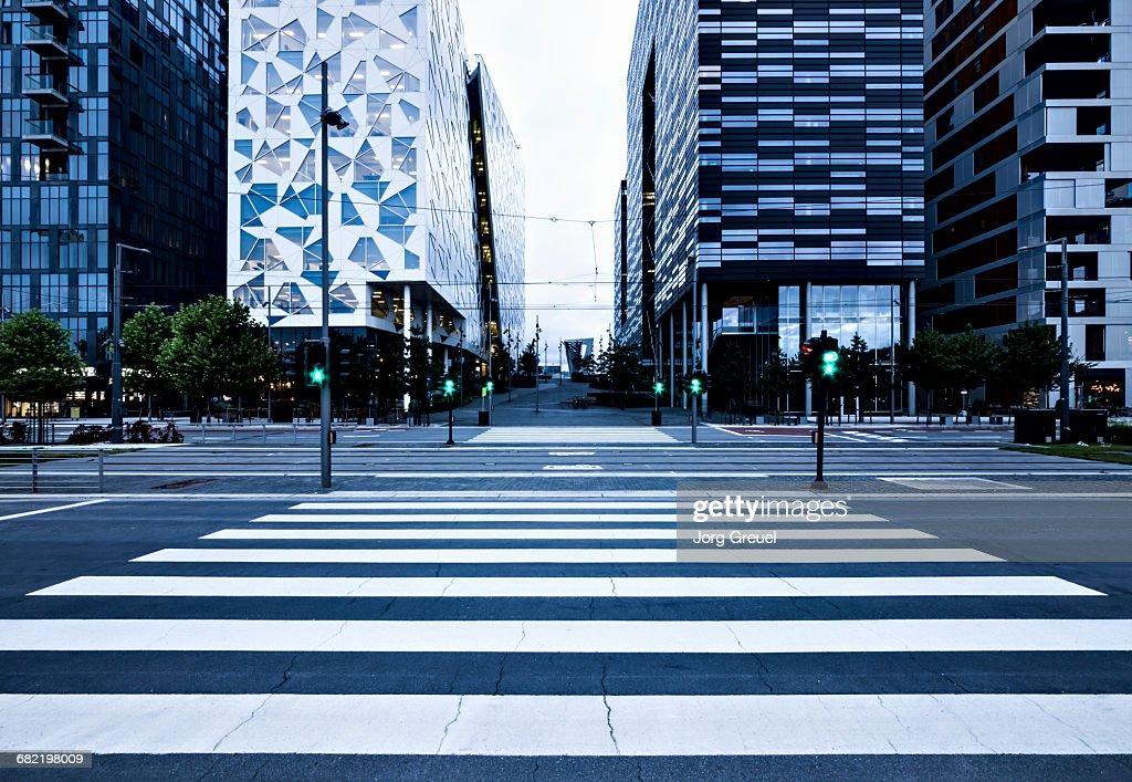 Pedestrian crossing at dusk : Stock Photo