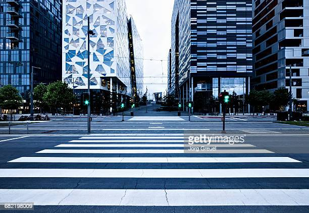 Pedestrian crossing at dusk