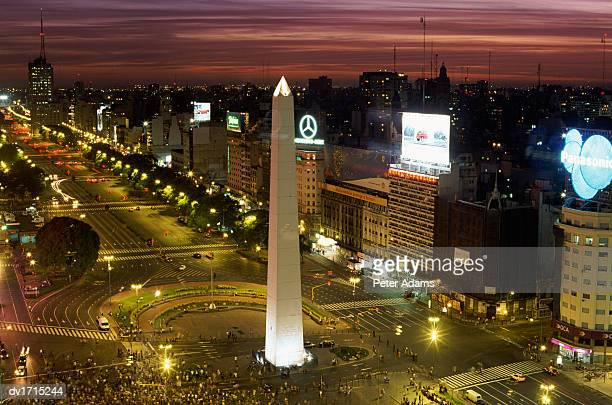 Pedestrian Crossing at the Obelisk in the Plaza de la Republic, Buenos Aires, Argentina